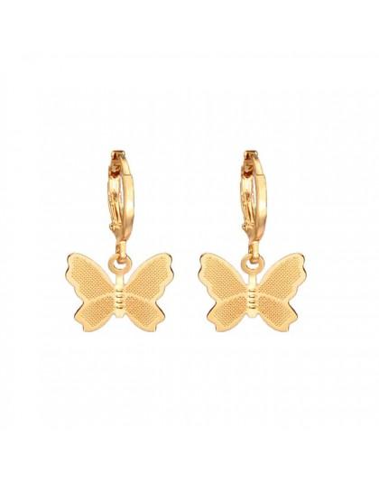 Flatfoosie nowy motyl spadek kolczyki dla kobiet geometryczne z dziurką kwiaty powłoki serce otwierane wiszące kolczyki biżuteri
