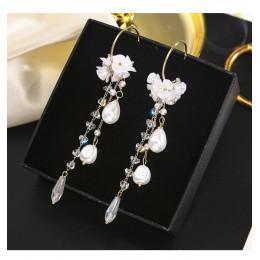 Vintage Crystal Water Drop kobiety dynda kolczyki kwiat perłowy kolczyki z frędzlami słodkie kolczyki z muszelką czeski spadek k