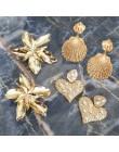 Girlgo Za Vintage metalowy kwiat Dangle kolczyki dla kobiet złoty kolor serce kreatywne kolczyki kobiece Boho Brincos biżuteria