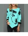 2019 wiosna jesień duży rozmiar kobiety t-shirty Casual O-Neck kwiatowy Print T Shirt kobiet T Shirt Plus rozmiar 5XL swetry top