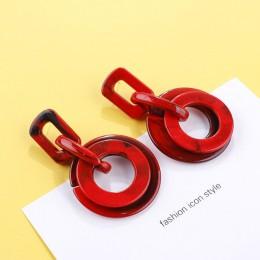 AENSOA Korea 2019 czerwone kolczyki w wielu stylach dla kobiet prosta moda żywica akrylowa metalowe geometryczne kolczyki pendie