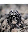 EYHIMD unikalne bogowie wojny Ares pierścienie czaszki Punk Rock wojownik stal nierdzewna 316L pierścień mężczyzna biżuteria dla