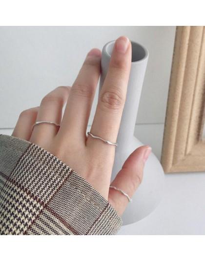 SHANICE 925 Sterling Silver otwarty pierścień INS zimny i fajny minimalistyczny twarz palec serdeczny dla kobiet oświadczenie re