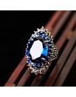 MOONROCY Vintage czerwony niebieski srebrny kolorowe pierścienie Crystal Party pierścień cz dla kobiet prezent hiperbola Dropshi