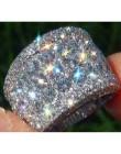 2019 nowy 925 srebro kolor Big Band pierścień z CZ cyrkon kamień dla kobiet ślub modna biżuteria zaręczynowa