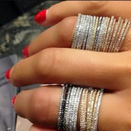 Srebro 925 cienka linia micro pave cz wieczność 3 kolory stos 925 srebrny pierścień cz