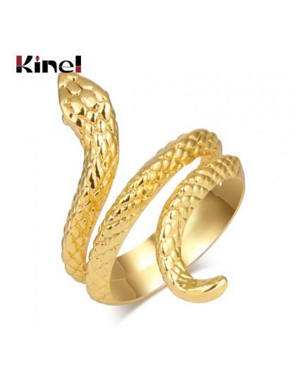 Kinel moda złote pierścienie węża dla kobiet metale ciężkie pierścień Punk Rock Vintage biżuteria dla zwierząt hurtowych Drop Sh
