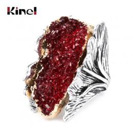Kinel naturalny kamień Vintage duże kobiety pierścień antyczne srebro moda czerwony kryształ kwiat ślub panny młodej pierścionki