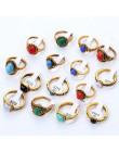 Mieszane stylu boho naturalne niebieski czerwony kamienne pierścienie tybetański srebrny Tone rozmiar 16 17 18 Finger pierścionk