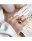 AOMU 2019 nowy projekt srebrna metalowa kula geometryczne okrągłe koło Ring Finger dla kobiet Wedding Party biżuteria prezent