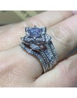 3 sztuk gorąca sprzedaż nowy 2019 luksusowa biżuteria 925 srebro okrągły Cut 5A cyrkonia kobiety obrączka pierścień dla miłośnik