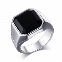 Dostojny czarny karneol ze stali nierdzewnej złoty kwadrat sygnet dla mężczyzn Pinky pierścionki męskie bogactwo i bogaty Status