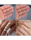 Spersonalizowane niestandardowe regulowane układanie A-Z 26 liter początkowe małe serce pierścienie dla kobiet złoty kryształ ob