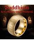 Szeroki 11 MM rzeźbione starożytny chiński buddyzm pismo nadprzyrodzone męskie sygnety ze stali nierdzewnej złoty i srebrny pier