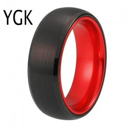 Klasyczne obrączki dla kobiet męski pierścionek wolframowy czarny z wolframem z czerwonym aluminiowym pierścieniem zaręczynowym