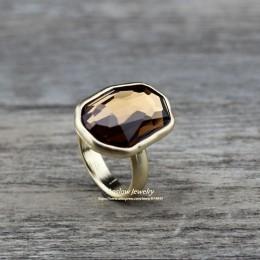 Anslow Trendy marka moda biżuteria srebrny złoty kolor duże nieregularne kryształowy palec pierścień dla kobiet ślub zaręczyny L