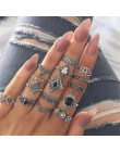 11 sztuk/zestaw artystyczny Retro klejnot geometria krzyż brzoskwinia serce korona srebrny zestaw pierścieni pani urok biżuteria