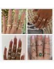 Vintage złote gwiazdki zestaw pierścieni księżycowych damski BOHO pierścień z charmsami damski pierścionek party fashion zestaw