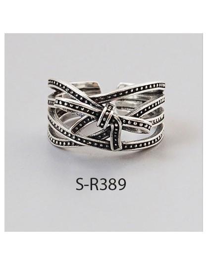 ANENJERY Vintage 925 srebro pierścionki dla kobiet mężczyzn rozmiar 16mm-18mm regulowane ręcznie Thai srebrne pierścionki S-R460