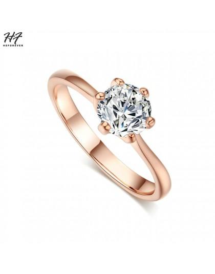 Różowe złoto kolor klasyczny prosty Design 6 Prong Sparkling Solitaire 1ct cyrkonia na zawsze obrączka HotSale R014