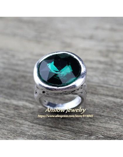 Anslow marka Vintage Punk Rock Style Antique Silver Plated para męska kobiety pierścienie z akcesoria kryształowe LOW0023AR