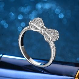Sparkling AAA 1.2ct cyrkon kryształowy wzór kokardki kolor srebrny wypełnione obrączki dla kobiet Bijoux moda pierścionek zaręcz
