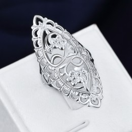 Cena hurtowa dla kobiet dziewczyna Retro hollow pierścień piękny wesele kolor srebrny pierścień słodkie noble moda klasyczna biż