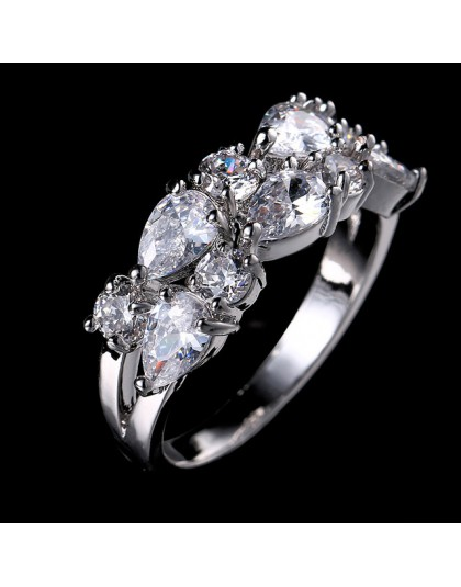 LXOEN moda Mona Lisa srebrny kolor pierścionek zaręczynowy AAA cyrkon obrączki dla kobiet biżuteria Crystal akcesoria anillos