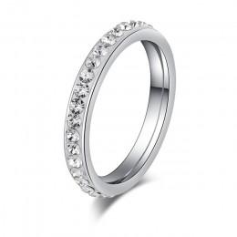 DOTIFI stal nierdzewna 316L stalowe pierścienie dla kobiet srebrny/kryształ w złotym kolorze zaręczynowy obrączka biżuteria