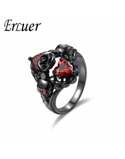Austriacki gotycki czarny pistolet Plated Style Retro pierścienie czaszki dla kobiet fioletowy kryształ biżuteria ślubna z cyrko