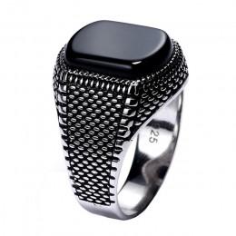 Turcja biżuteria czarny pierścień mężczyźni lekki 6g prawdziwe 925 srebro pierścionki męskie naturalny onyks kamień Vintage fajn