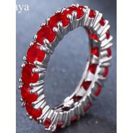 Emmaya biały niebieski zielony czerwona cyrkonia Fashion Design pierścień okrągły srebrny kolor AAA cyrkon pierścienie dla kobie