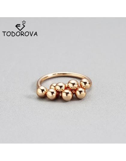 Todorova kobieta śliczny wisiorek z koralików Ring Finger złoty kolor obrączki dla kobiet moda obrączki najlepszy prezent