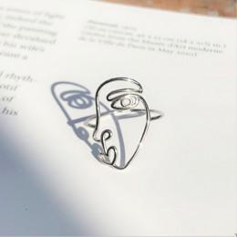2019 nowy śliczne śmieszne duża twarz Anel Masculino Anel autentyczne 100% 925 Sterling Naughty Line Ring Finger dla damska biżu