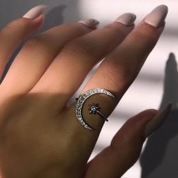 925 srebro moda pierścionek zaręczynowy biżuteria ażurowa gwiazda księżyc Ring Finger dla kobiet dziewczyn prezent urodzinowy JZ
