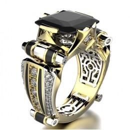 Klasyczny złoty kryształ cyrkon obrączki kolorowy klejnot zaręczyny imprezowa, koktajlowa damska męska pierścionki kochanka prez
