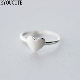 Nowy 925 Sterling Silver Heart Rings dla kobiet regulowany rozmiar Finger Rings moda biżuteria ślubna