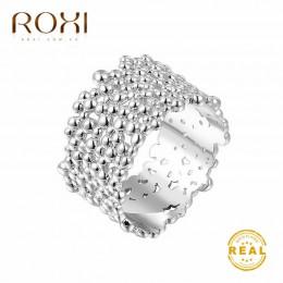 ROXI 13mm bez blaknięcia klasyczne obrączki 1.3CM szerokie złote obrączki pierścionek koktajlowy biżuteria na palce drzewo kora