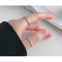 SHANICE 100% 925 Sterling Silver otwarty pierścień dla kobiet INS minimalistyczny nieregularny wzór fali złoty kolor biżuteria B