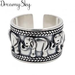 Przesadna osobowość 925 srebro słoń pierścienie dla kobiet biżuteria ślubna regulowany antyczny palec pierścień Anillos