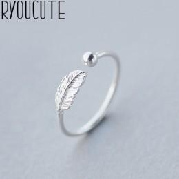 RYOUCUTE 100% prawdziwe 925 Sterling Silver biżuteria moda pióro kulkowe koraliki pierścionki dla kobiet Bijoux oświadczenie ant