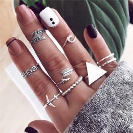 Moda duży trójkąt okrągły geometryczny pierścienie dla kobiet Vintage samolot strzałka fala kwiat liść pierścień uszczelniający