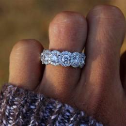 Luksusowe kobiece duże kryształowe okrągłe pierścionek zaręczynowy śliczne 925 srebrny cyrkon kamienny pierścień Vintage obrączk