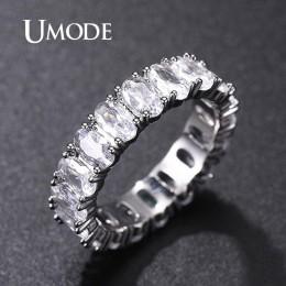 UMODE srebrny wieczność pierścienie dla kobiet luksusowe obrączki cyrkonia Femme dziewczyny pary prezent biżuteria UR0580A