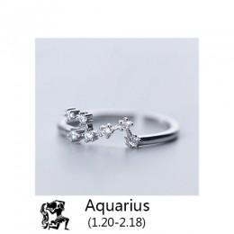 Trustdavis 2019 kobiety 12 konstelacji CZ otwarcie biżuteria czysta 100% 925 srebro pierścienie najlepszy prezent DA348