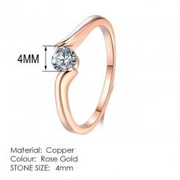 Double Fair cyrkonia obrączki dla kobiet różowe złoto kolor CZ kamień damski pierścień biżuteria ślubna HotSale DFR239