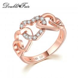 Double Fair 5 Big Love Hearts połączone z błyszczącymi CZ kamiennymi pierścieniami dla kobiet dziewczyn biżuteria rocznicowa Hot
