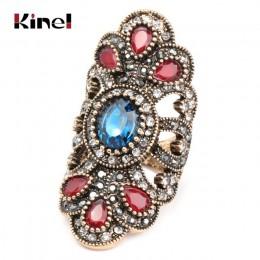 Kinel luksusowy antyczny pierścionek dla kobiet klasyczny wygląd niebieska biżuteria z żywicy artystyczna srebrna wkładka AAA sz