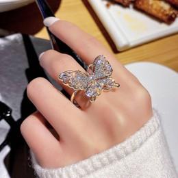 Nowy projekt biżuteria otwarcie wysokiej jakości miedzi inkrustowane cyrkon pierścień z motylem luksusowe błyszczące imprezowa,
