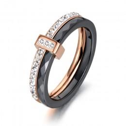 AENINE 2 warstwy czarny/biały ceramiczne kryształowe obrączki biżuteria dla kobiet dziewczyn różowe złoto zaręczyny ze stali nie